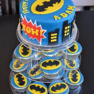 Batman Cake and Batman Cupcakes
