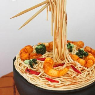 Shrimp and broccoli spaghetti - food cake challenge