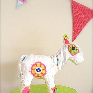 Crochet horse cake