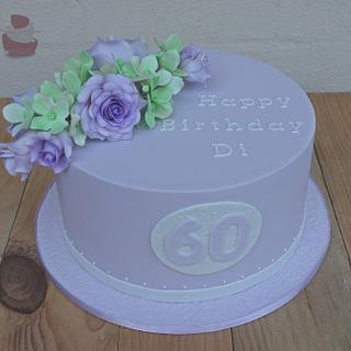 Floral 60th cake