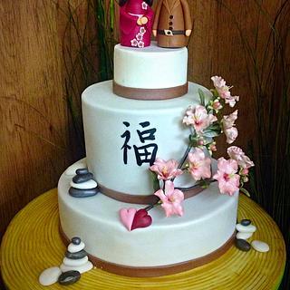 Japanese theme wedding cake