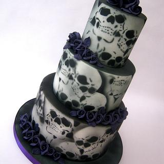 3 Tier Purple Roses & Airbrushed Skull Wedding Cake