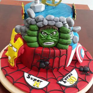 Avengers theme 30th bday cake