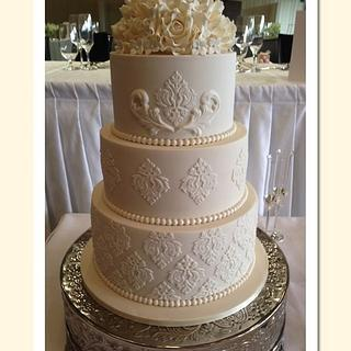 Ivory Damask Wedding Cake