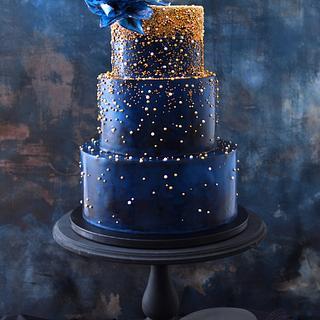 Dark Blue And Gold Sparkle Cake