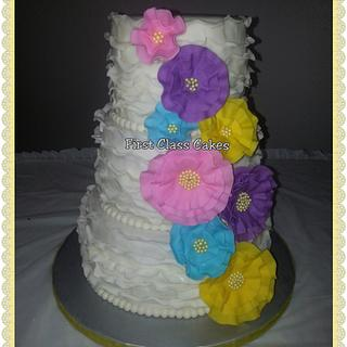 Ruffles wedding cake - Cake by First Class Cakes