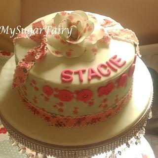 Ditsy print Cake and Flower