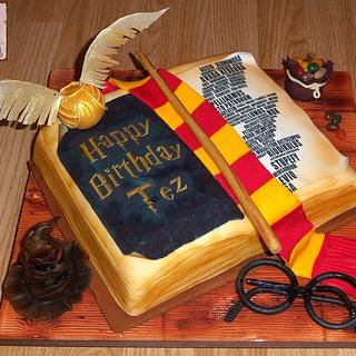 Harry Potter open book cake with Harry Potter edible accesories