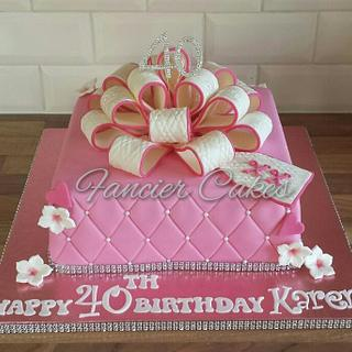 Present bow birthday cake - Cake by Fancier Cakes