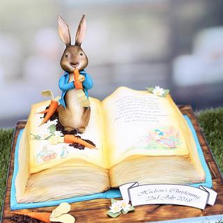 Peter Rabbit Open Book Christening Cake