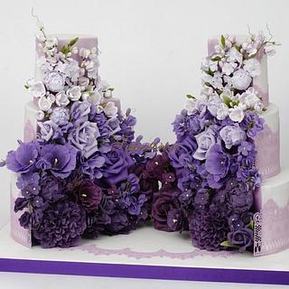 2 halves lilac, violet and lavender cake
