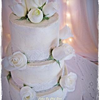 Rustic Edible Lace wedding cake