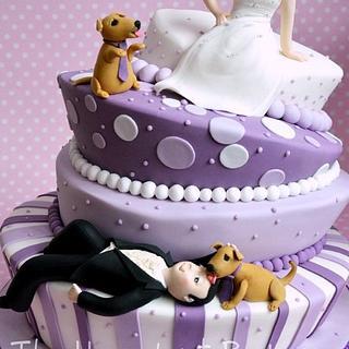 Topsy Turvy Bride and Groom Cake in Purple - Cake by HazelnutBakery