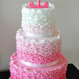 Pink Ombre Ruffle Cake - Cake by Lori's Sweet Cakes