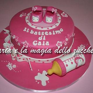 Hello Kitty baptism cake