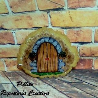 una puerta de madera