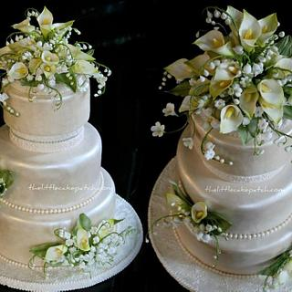 Calla Lillies, Jasmines and Lilly of the Valley - Cake by Joanne Wieneke