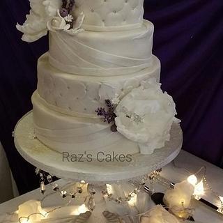 Elegant Ivory Wedding Cake - Cake by RazsCakes
