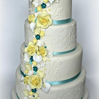 Lemon and Teal Wedding cake