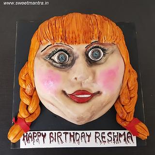 Horror movie Annabelle face shaped handpainted 3D cake