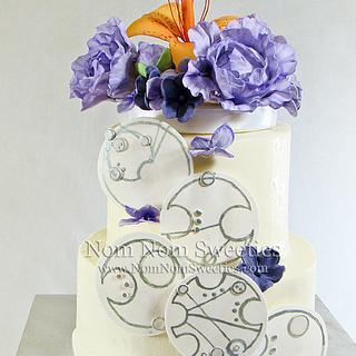 Flowers and Gallifreyan Wedding Cake