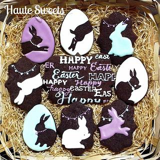 Easter bunny silhouette cookies