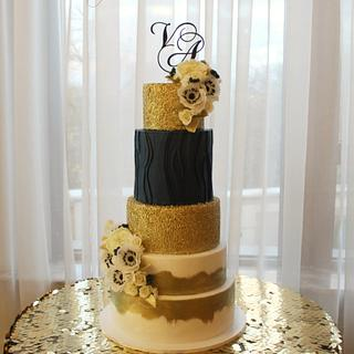 """Blue and Gold"" Wedding Cake"