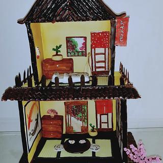 Fantasy World:Cakerbuddies Miniature Doll House:OKAERINASAI (JAPANESE HOUSE) - Cake by Monika Srivastava