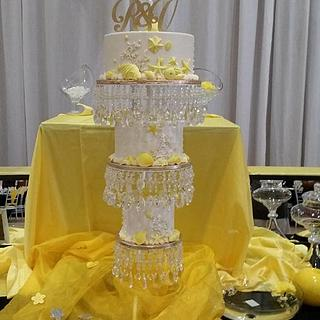Yellow seathemed wedding cake hanging - Cake by Probst Willi Bakery Cakes