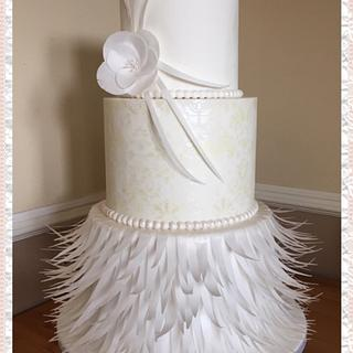 Wafer feather wedding cake - Cake by Teraza @ T's all occasion cakes