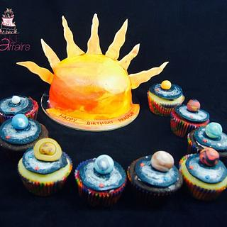 Solar system cake n cupcakes
