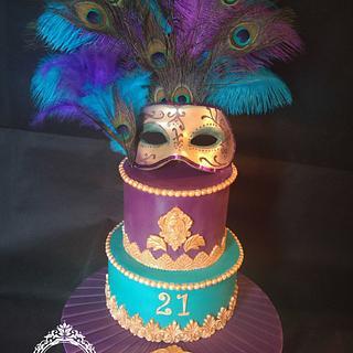 Venetian mask masquerade cake!