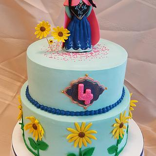 "Birthday cake for a fan of Anna on ""Frozen"" movie"
