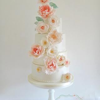 Pink Peony & Roses Wedding Cake