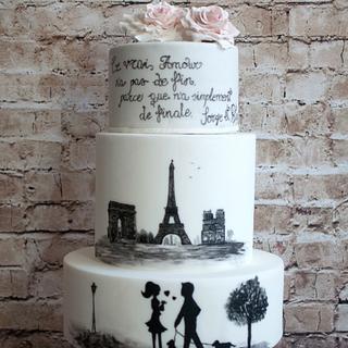 Hand painted Paris cake