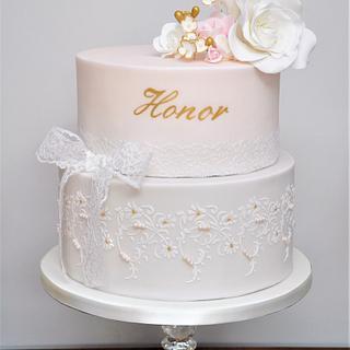 Pretty pastel pink & gold Holy Communion cake
