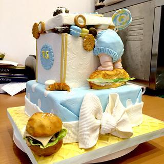 Baby gift box cake
