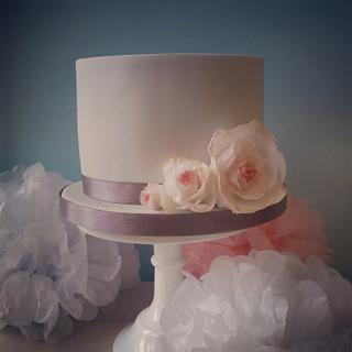 Simple cake with wafer paper flowers