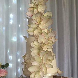 Autumnal Falling petal wedding cake