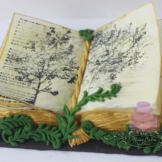 Poetry book birthday cake