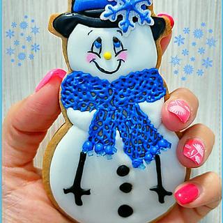 Blue snowman - Cake by Gele's Cookies