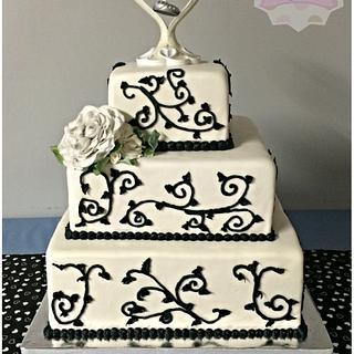 Black and White Wedding - Cake by Sabrina - White's Custom Cakes