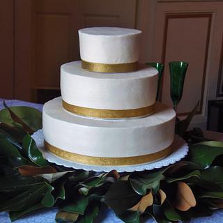 Buttercream and gold wedding cake