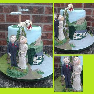 Water fall and Mountain Wedding cake