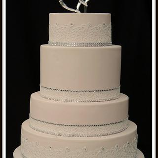 Simple Pink Wedding Cake with Bling - Cake by Barb's Baking Blog