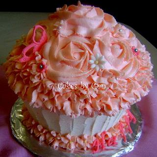 Vanilla Buttercream Rose Swirl Giant Cupcake