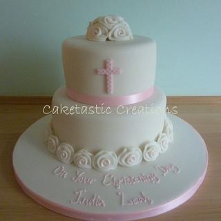 Ribbon Roses Christening Cake