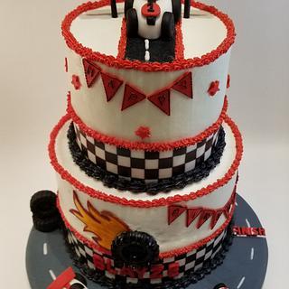 Race car 1st birthday cake