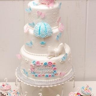 Baby Shower umbrellas cake & cupcakes - Cake by Sheila