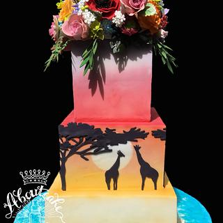 Safari themed wedding cake